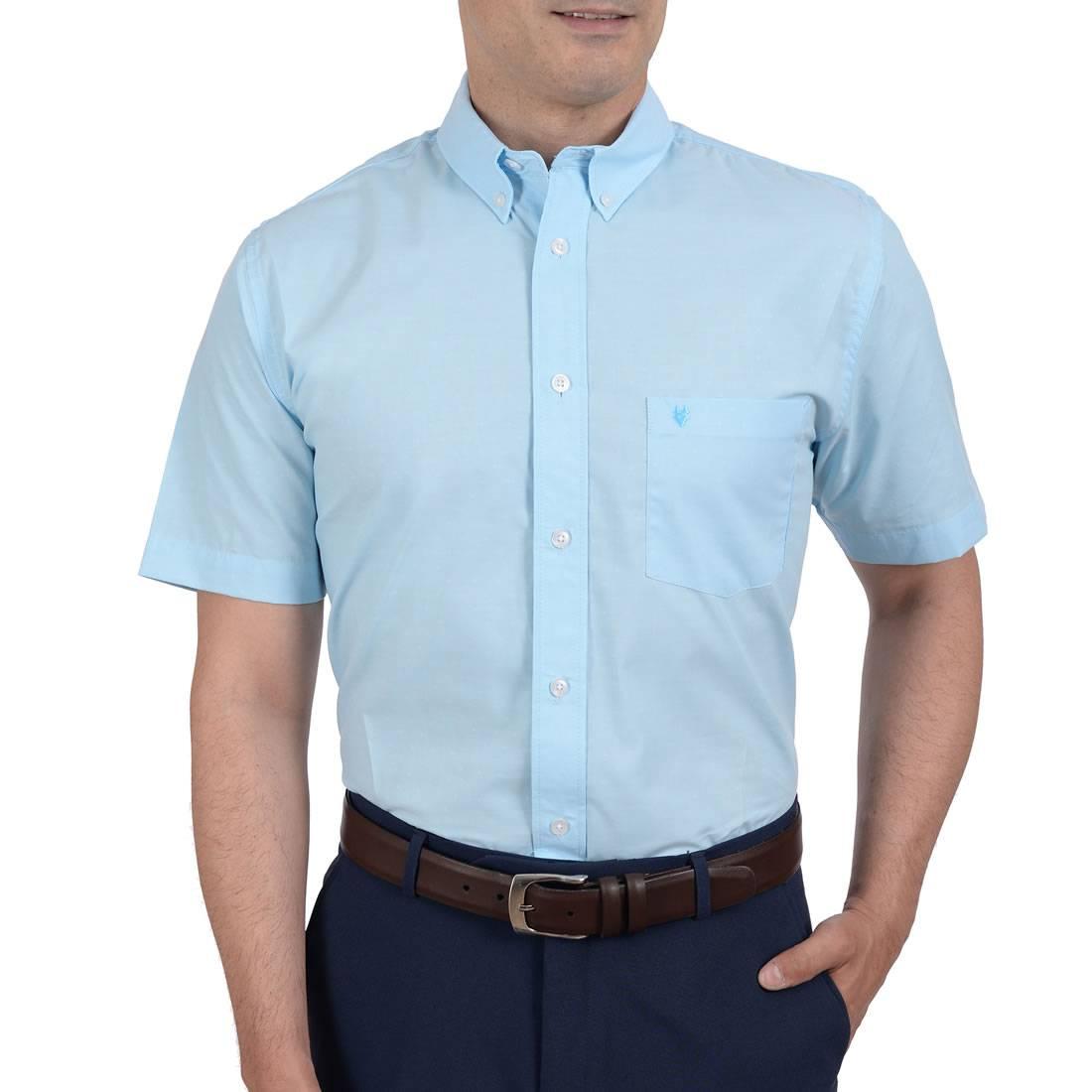 042201432426-01-Camisa-Casual-Manga-Corta-Botton-Down-Falso-Liso-Classic-Fit-Azul-Cadete-yale